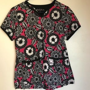 Pink floral scrub top size small